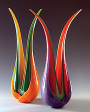 Selva Leaves by Ed Branson (Art Glass Sculpture)