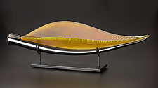 Diamond Fossil Leaf in Gold by Ed Branson (Art Glass Sculpture)