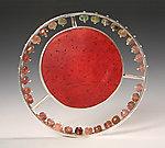 Solar/Red by Ayala Naphtali (Silver & Coconut Shell Brooch)