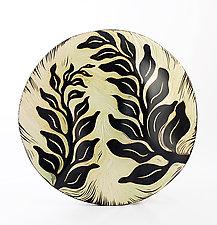 Spring Fern Disk by Natalie Blake (Ceramic Wall Sculpture)