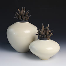 Ivory Flame Zucca Vessels by Natalie Blake (Ceramic Vessel)