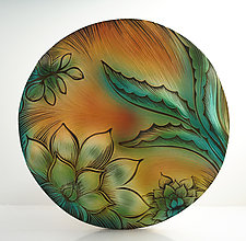 Desert Cactus Disk by Natalie Blake (Ceramic Wal Sculpture)