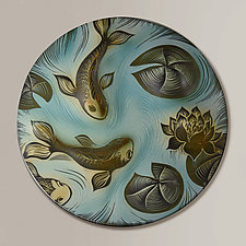 Koi and Lily Pad Disk by Natalie Blake (Ceramic Wall Sculpture)