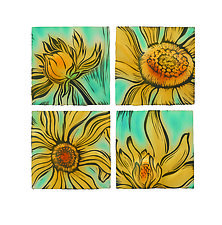 The Joy of Sunflowers by Natalie Blake (Ceramic Wall Sculpture)