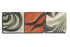 Jade and Cashew Triptych by Natalie Blake (Ceramic Wall Sculpture)