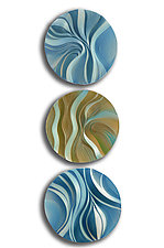 Wave and Wind Dune Disk Trio by Natalie Blake (Ceramic Wall Sculpture)