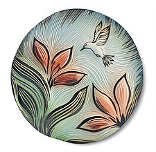 Late Summer Hummingbird Disk by Natalie Blake (Ceramic Wall Sculpture)