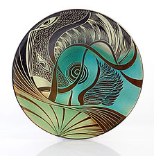 Fly by Night Abstract Platter by Natalie Blake (Ceramic Wall Platter)