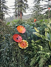 Fluted Poppies by Cristy Aloysi and Scott Graham (Art Glass Sculpture)