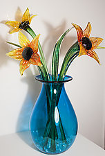 Bouquet of Sunflowers by Cristy Aloysi and Scott Graham (Art Glass Sculpture)