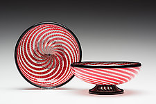 Red Cane Bowl by Kenny Pieper (Art Glass Vessel)