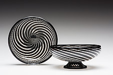 Black Cane Bowl by Kenny Pieper (Art Glass Bowl)