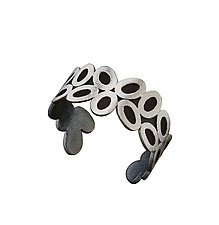 Silver Oval Cuff Bracelet by Alexan Cerna and Gina  Tackett (Silver Bracelet)