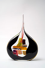 Small Sail in Black by Bengt Hokanson and Trefny Dix (Art Glass Sculpture)