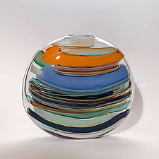 Large Stripes In Orange by Bengt Hokanson and Trefny Dix (Art Glass Sculpture)