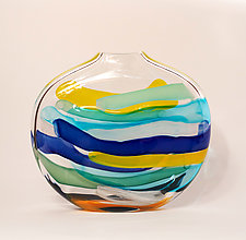 Large Stripes in Blue by Bengt Hokanson and Trefny Dix (Art Glass Sculpture)