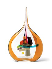 Small Sail in Mango by Bengt Hokanson and Trefny Dix (Art Glass Sculpture)