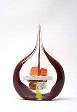 Small Sail in Garnet by Bengt Hokanson and Trefny Dix (Art Glass Sculpture)