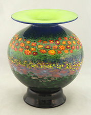 Round Poppy Vase 2 by Ken Hanson and Ingrid Hanson (Art Glass Vase)