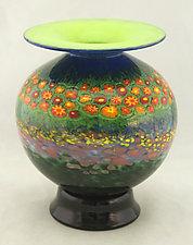 Round Poppy Vase 2 by Ken Hanson and Ingrid Hanson (Art Glass Vase)