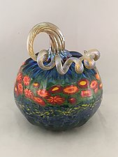 Poppy Pumpkins by Ken Hanson and Ingrid Hanson (Art Glass Sculpture)