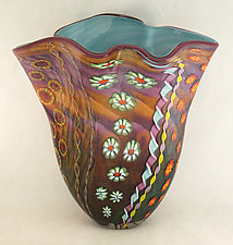 Amethyst and Aurora Aquatic Fan Vase I by Ken Hanson and Ingrid Hanson (Art Glass Vase)