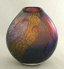Aurora and Amethyst Flattened Dichroic Vase by Ken Hanson and Ingrid Hanson (Art Glass Vase)