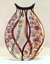 Large Mosaic Mermaid's Purse by Ken Hanson and Ingrid Hanson (Art Glass Vase)