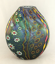 Aqua and Emerald Aquarium Vessel by Ken Hanson and Ingrid Hanson (Art Glass Vase)