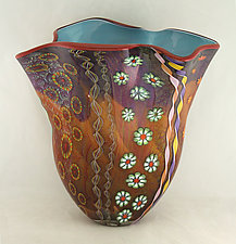 Amethyst and Aurora Aquatic Fan Vase II by Ken Hanson and Ingrid Hanson (Art Glass Vase)