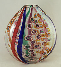 Ruby/Cobalt Mosaic Vase by Ken Hanson and Ingrid Hanson (Art Glass Vase)