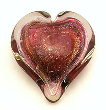 Large Ruby Dichroic Heart Paperweight by Ken Hanson and Ingrid Hanson (Art Glass Paperweight)