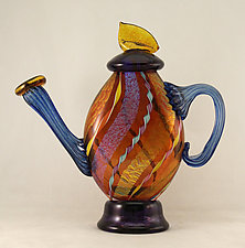 Aurora Dichroic Glass and Twisted Cane Teapot by Ken Hanson and Ingrid Hanson (Art Glass Teapot)