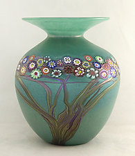 Jade Vines Vase by Ken Hanson and Ingrid Hanson (Art Glass Vase)