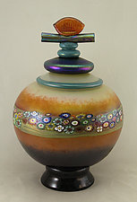 Small Mango Vines Lidded Vessel by Ken Hanson and Ingrid Hanson (Art Glass Vase)