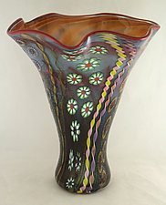 Aqua and Amethyst Free Formed Aquatic Vase I by Ken Hanson and Ingrid Hanson (Art Glass Vase)