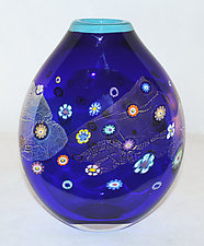 Cobalt Blossom Flattened Vase by Ken Hanson and Ingrid Hanson (Art Glass Vase)
