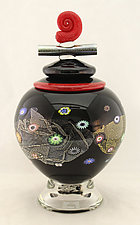 Black Blossom Lidded Vessel by Ken Hanson and Ingrid Hanson (Art Glass Vase)