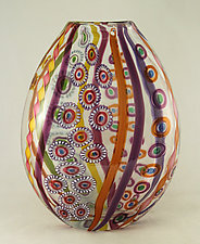 Large Salmon/Amethyst Mosaic Vase by Ken Hanson and Ingrid Hanson (Art Glass Vase)