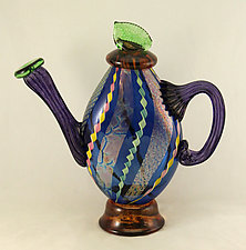 Aqua Dichroic Glass and Twisted Cane Teapot by Ken Hanson and Ingrid Hanson (Art Glass Teapot)