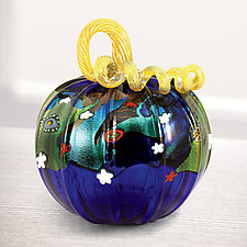 Cosmic Pumpkin by Ken Hanson and Ingrid Hanson (Art Glass Sculpture)