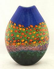 Poppy Pouch by Ken Hanson and Ingrid Hanson (Art Glass Vase)