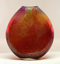 Flattened Ruby Dichroic Vase by Ken Hanson and Ingrid Hanson (Art Glass Vase)
