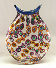 Mermaid's Purse with Circles by Ken Hanson and Ingrid Hanson (Art Glass Vase)