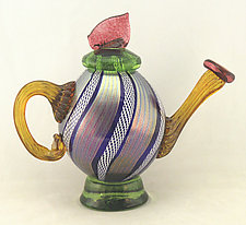 Cobalt and White Latticino Sculptural Teapot by Ken Hanson and Ingrid Hanson (Art Glass Teapot)