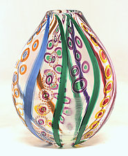 Large Mosaic Pouch by Ken Hanson and Ingrid Hanson (Art Glass Vase)