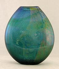 Aqua and Emerald Dichroic Pouch by Ken Hanson and Ingrid Hanson (Art Glass Vase)