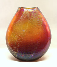 Topaz and Ruby Dichroic Pouch by Ken Hanson and Ingrid Hanson (Art Glass Vase)