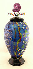 Tall Aqua Lidded Sea Jar by Ken Hanson and Ingrid Hanson (Art Glass Jar)