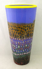 Delft Blue Garden Cylinder by Ken Hanson and Ingrid Hanson (Art Glass Vase)